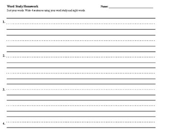 Word Study Homework Assignments