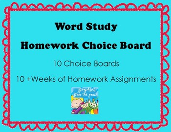 Word Study Homework Choice Boards for use with Words Their Way