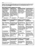 Word Study Homework Choices