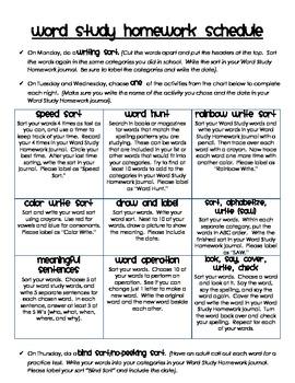 Word Study Homework Spelling Menu and Labels