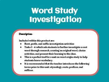 Word Study Investigation