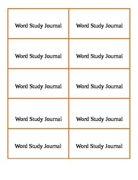 Word Study Journal Label