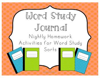 Word Study Journal and Homework Activities