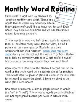 Word Study Kindergarten March First Grade