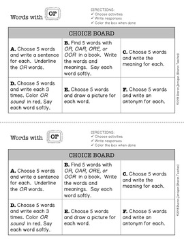 Word Study Lesson - words with OR (spelling, word work, vocabulary)