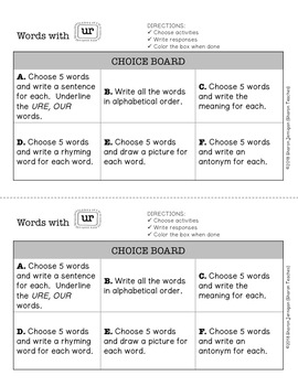 Word Study Lesson - words with UR (spelling, word work, vocabulary)