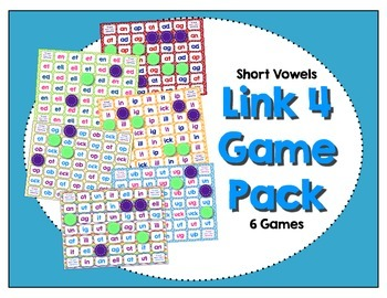 Word Study / Literacy Center - Link 4: Short Vowel Game Pack (6 Games)