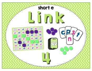 Word Study / Literacy Center - Link 4: Short e Word Families Board Game