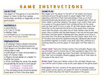 Word Study / Literacy Center - Link 4: Short i Word Families Board Game
