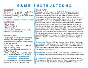 Word Study / Literacy Center - Link 4: Short u Word Families Board Game