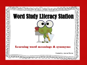 Word Study Literacy Station 3rd - 5th Grade
