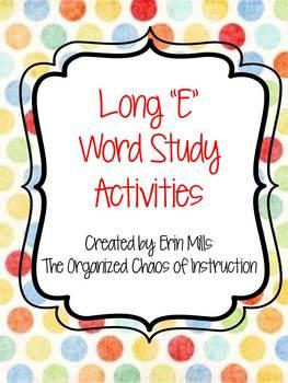 "Word Families-Long ""E"" Activities"