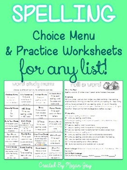 Spelling Menu and Printables for Centers or Homework