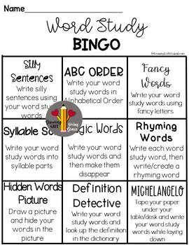 Word Study Menu/Tic tac Toe/Bingo Version 2