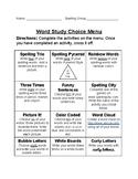 Word Study Menu and Activities