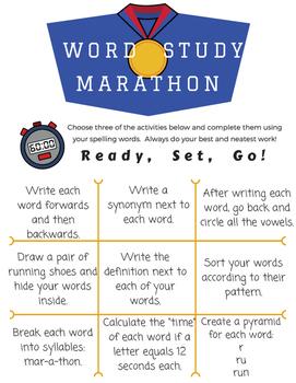 Word Study Menus