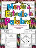 Word Study Menus In Spanish