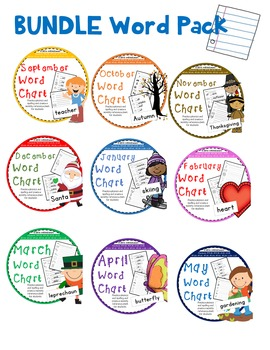 Word Study Monthly Chart Kindergarten First Grade
