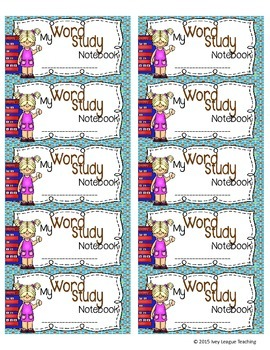 Word Study Notebook Labels