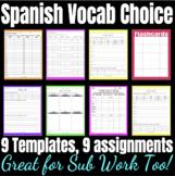 Spanish Sub Plans: Vocab Choice Board - Word Study Activit