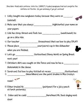 Word Study Packet Homophones