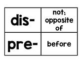 Word Study Prefix Cards