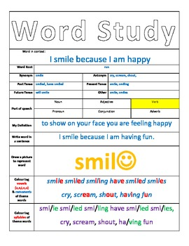 Back to school Word Study Proforma with example