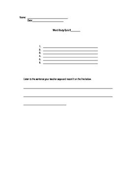 Word Study Quiz Template