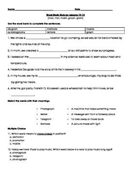 Word Study Quiz: mov, mot, mobil, graph, gram