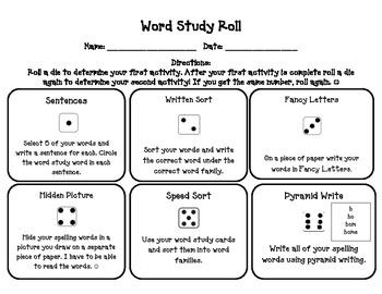 Word Study Roll