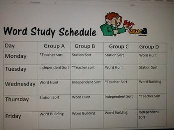 Word Study Schedule