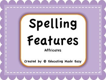 Word Study Spelling Features: Affricates