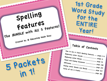 1st Grade Word Study Spelling Features: The BUNDLE