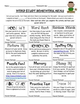 Word Study-Spelling Homework Menu