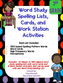 Word Study Spelling Lists & Activities 3rd Grade TEKS