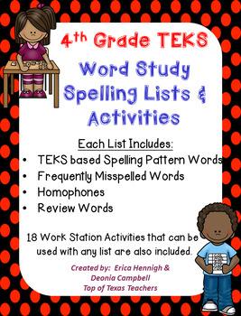 Word Study Spelling Lists & Activities 4th Grade TEKS