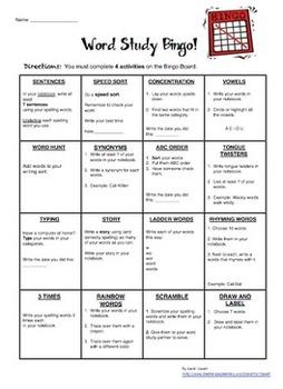 Word Study (Spelling) Weekly Homework Bundle