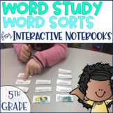 Word Study Spelling Word Sorts 5th grade Phonics