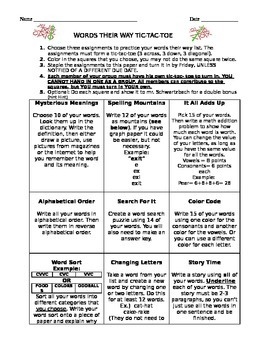 Word Study, Spelling, Words Their Way Tic-Tac-Toe