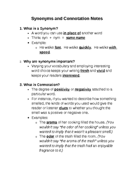 Word Study: Synonyms and Connotation Guided Notes