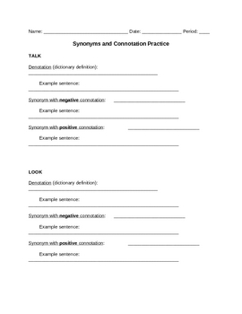 Word Study: Synonyms and Connotation Practice Sheet
