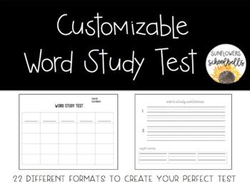 Customizable Word Study Test