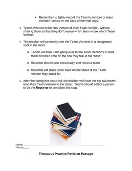 Word Study: Thesaurus Revision Passage Team Activity