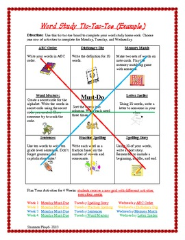 Word Study Tic-Tac-Toe- One Sheet.... Four Weeks!
