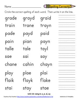 Word Study Unit 13: Long A a_e, ai, ay