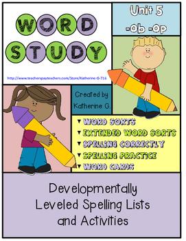 Word Study Unit 5: -ob / -op