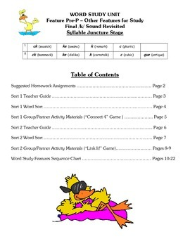 Word Study Unit Materials - Final /K/ Sound Revisited, Syllable Juncture Stage