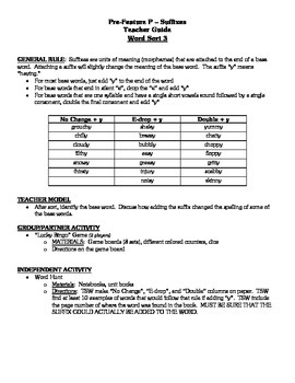 Word Study Unit Materials - Suffixes, Syllable Juncture Stage