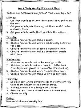 Word Study Weekly Homework Menu
