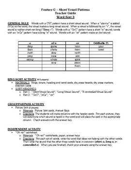 Word Study Within Word Stage, Feature G Short Vowel Patterns Sort 3